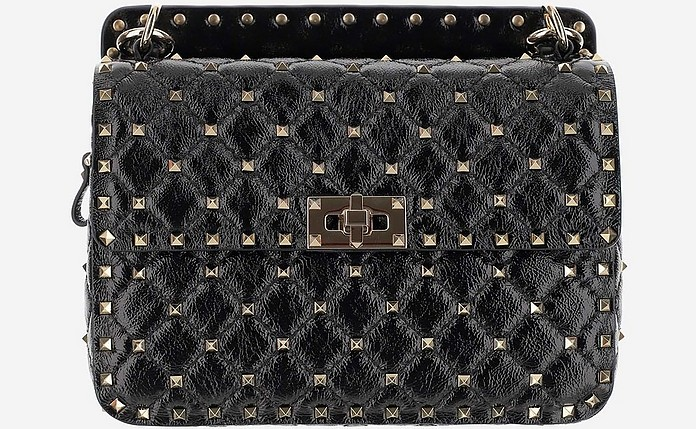 Black Rockstud Spike Shoulder Bag - Valentino