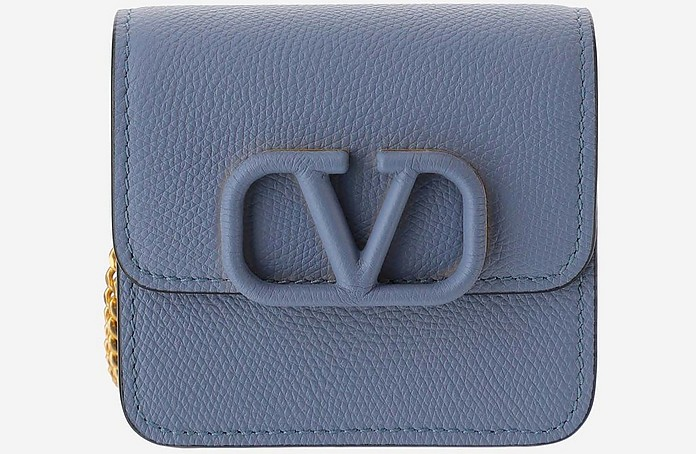Baby Blue Leather Vsling Wallet on a Chain - Valentino