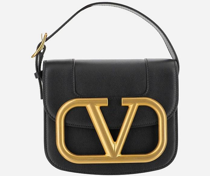 Black Super Eve Leather Shoulder Bag - Valentino Garavani