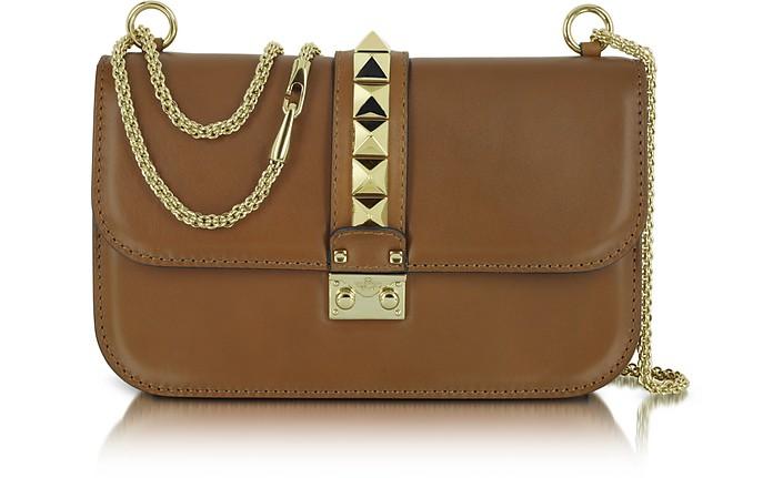 Rockstud Brown Leather Shoulder Bag - Valentino