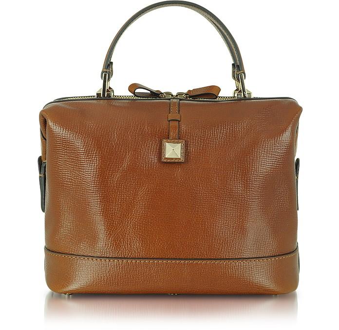 Rockstud - Large Brown Leather Satchel - Valentino