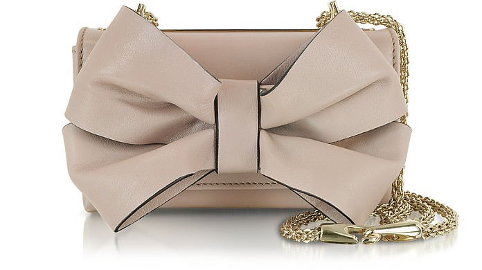 Blush Leather Shoulder Bag w/Bow - Valentino