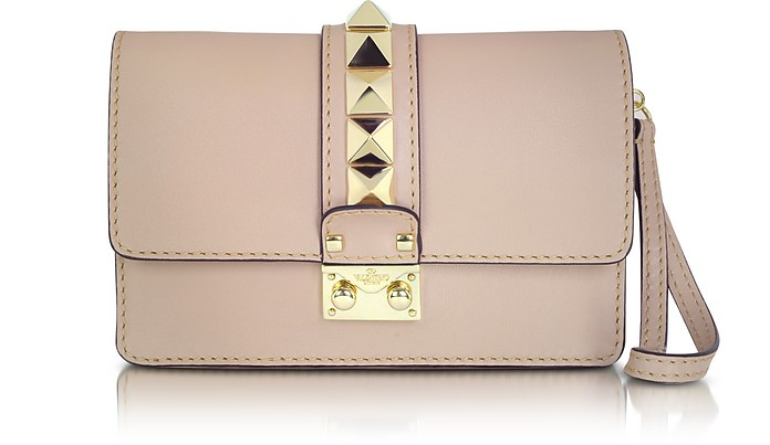 Rockstud Leather Clutch With Wristlet - Valentino