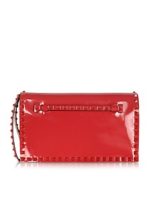 Rockstud Rouge Patent Leather Clutch