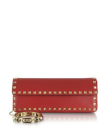 Rockstud Red Leather Clutch