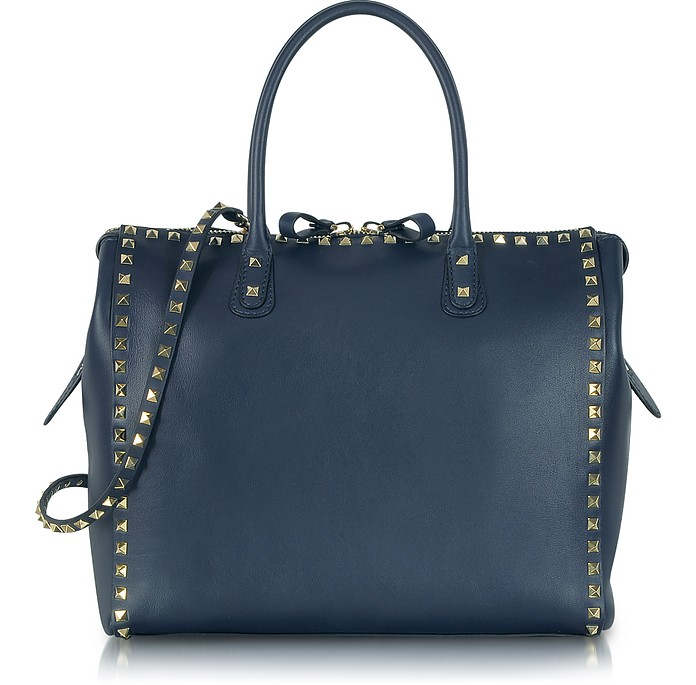 Rockstud Large Navy Blue Leather Satchel Bag - Valentino