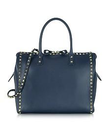 Rockstud Large Navy Blue Leather Satchel Bag