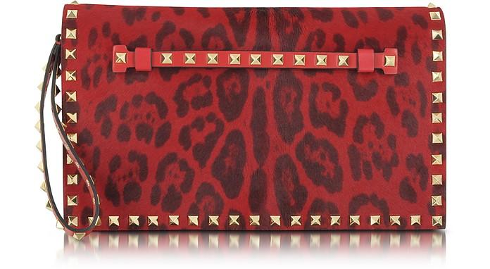 Rockstud Red Animal Print Pony Hair Wristlet Clutch - Valentino
