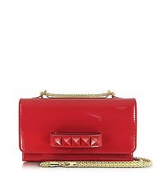 Rockstud Red Patent Leather Shoulder Bag