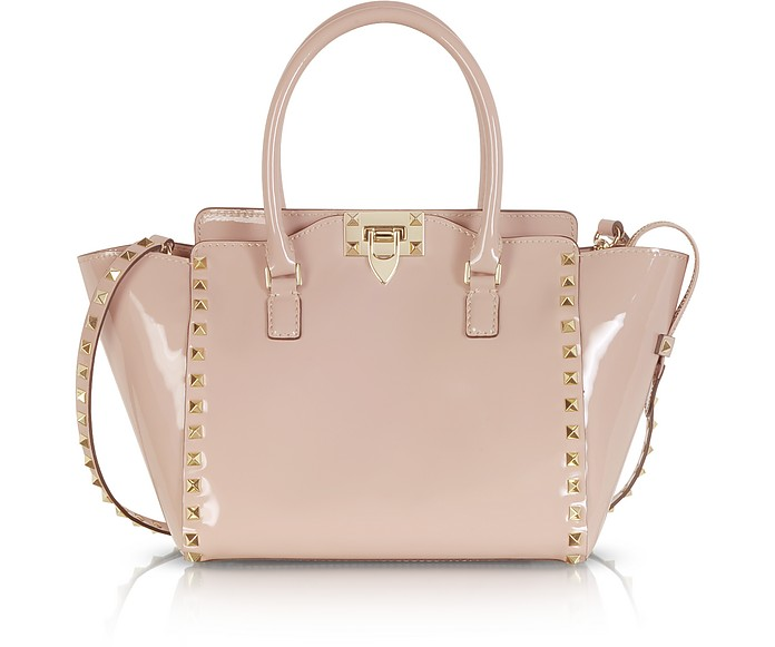 5d9d50023c Valentino Rockstud Rose Patent Leather Satchel Bag at FORZIERI