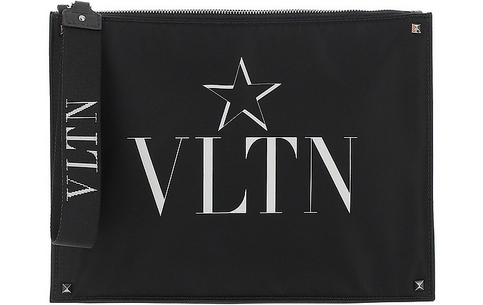 Black Nylon Vltn Star Clutch - Valentino