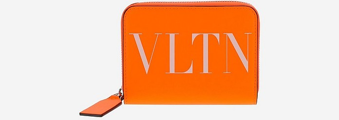 Bright Orange Vltn Card Holder w/Shoulder Strap - Valentino