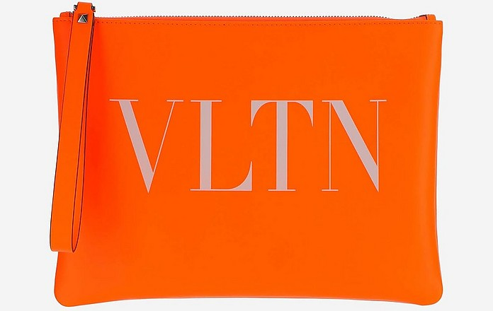 Orange Leather VTLN Pouch - Valentino