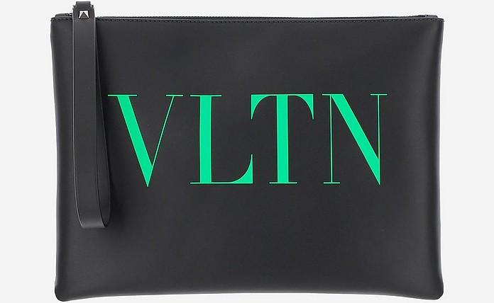 Black Large VLTN Calfskin Pouch - Valentino Garavani