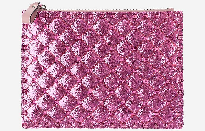 Fuchsia Glitter Quilted Leather Wallet Clutch - Valentino