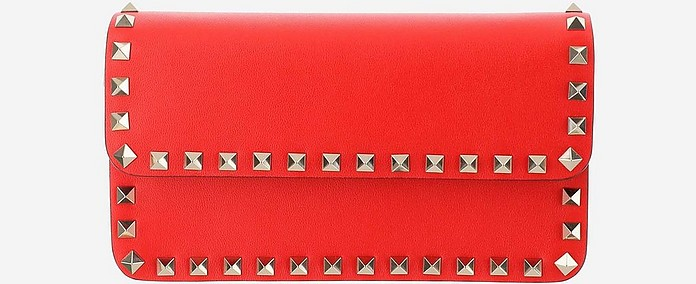 Red Leather Wallet on a Chain - Valentino