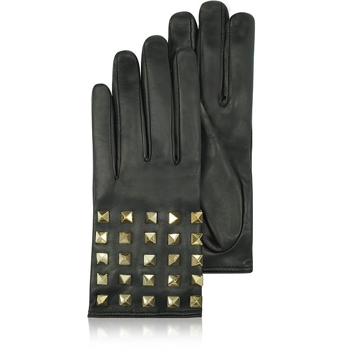 Rockstud Black Leather Gloves w/ Silk Lining - Valentino