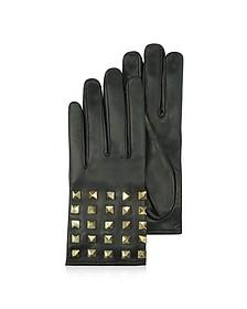 Rockstud Black Leather Gloves w/ Silk Lining
