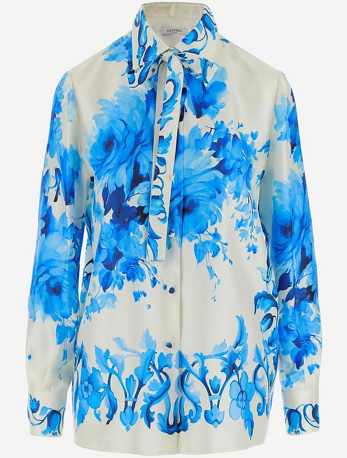 White and Blue Floral print Women's Shirt - Valentino