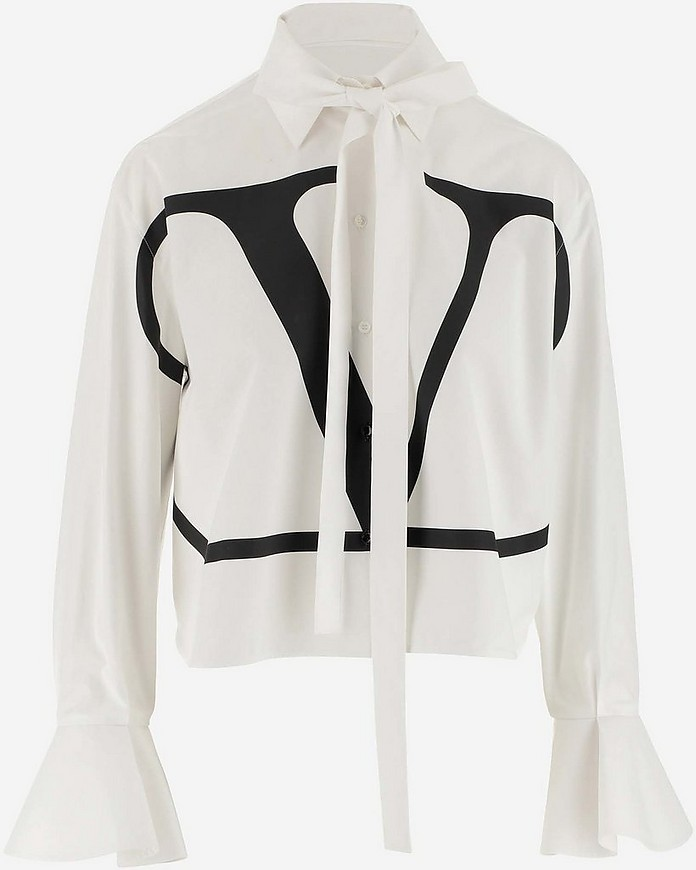 White Cotton VLogo Women's Shirt - Valentino