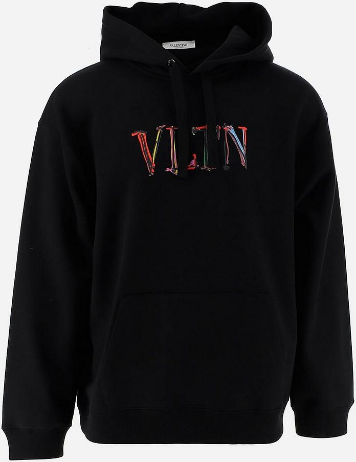 VLTN Black Cotton Men's Hoodie - Valentino