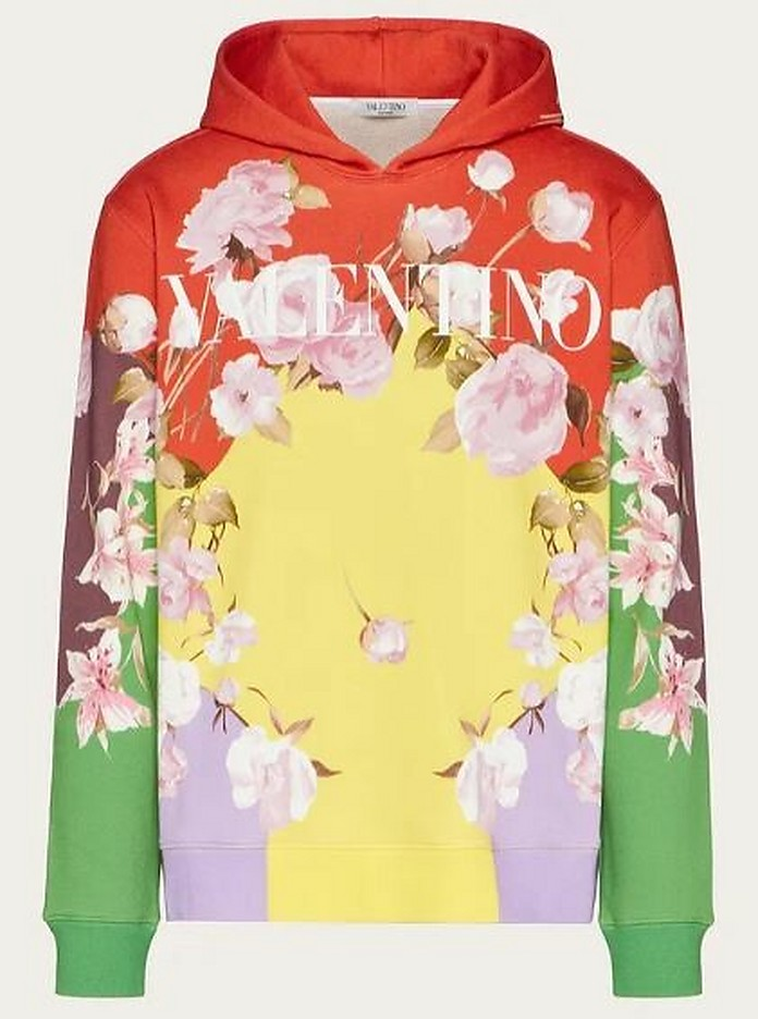 Floral Print Color Block Men's Hoodie - Valentino