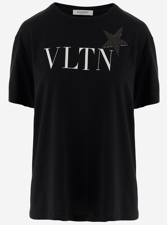 Black Cotton Signature Print Women's T-Shirt W/Short Sleeve - Valentino Garavani