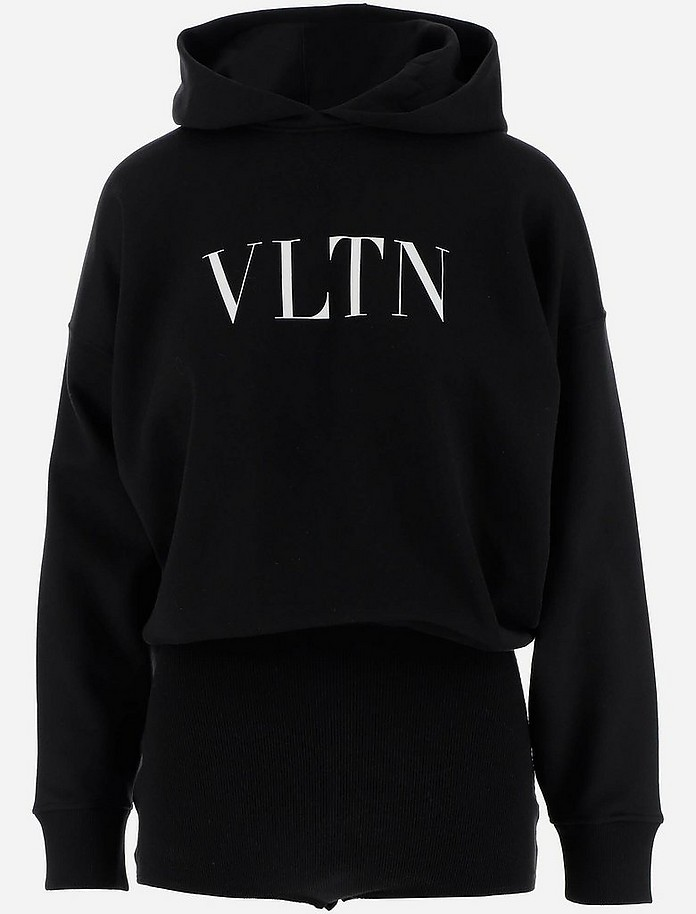 Black Cotton VLTN Women's Hoodie - Valentino / ヴァレンティノ