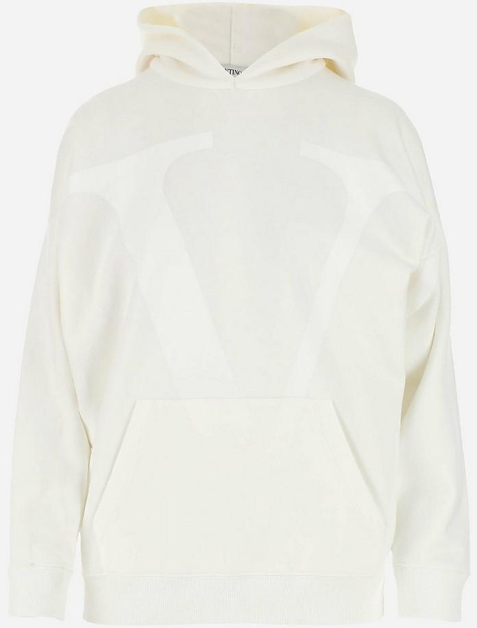 White Plush Cotton Women's Hoodie - Valentino / ヴァレンティノ