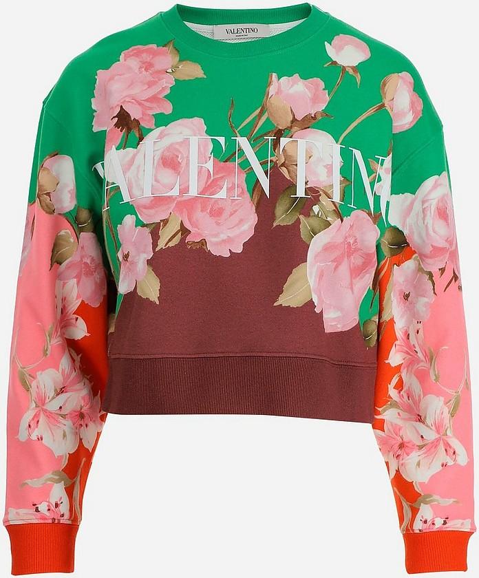 Floral Printed Cotton Women's Crop-Top Sweatshirt - Valentino / ヴァレンティノ