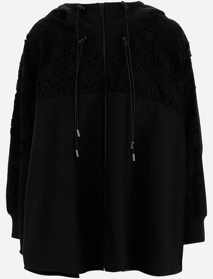 Black Blossom Macramè Women's Sweatshirt - Valentino / ヴァレンティノ