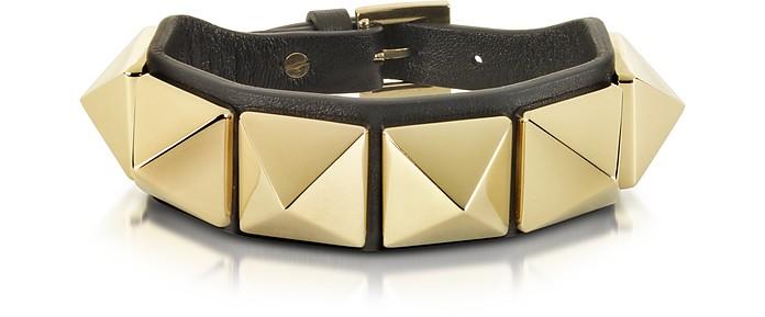 Rockstud Black Leather Bracelet - Valentino