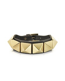 Rockstud Black Leather Bracelet