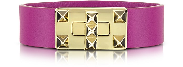 Small Rockstud Leather Turnlock Bracelet - Valentino