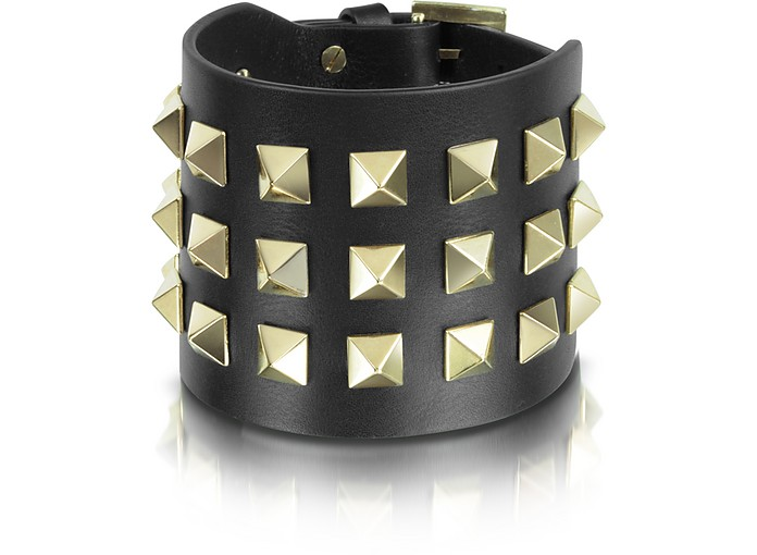 Rockstud Large Black Leather Bracelet - Valentino Garavani