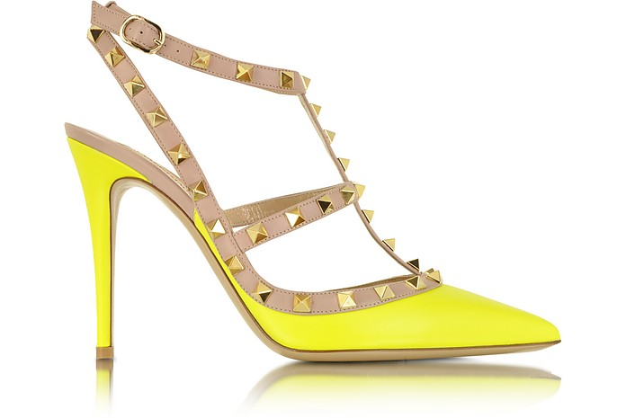 Rockstud Fluo Leather Slingback Pump - Valentino