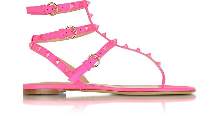 Rockstud Fluo Pink Flat Leather Sandal - Valentino
