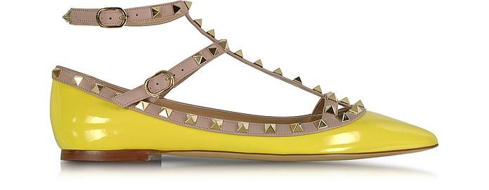Rockstud Naples Yellow Leather Ballerina - Valentino