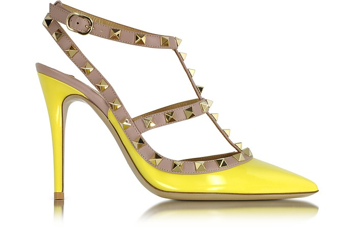 Rockstud Naples Yellow Leather Slingback Pump  - Valentino