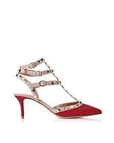 Rockstud Red Mid-Heel Ankle Strap Pumps - Valentino