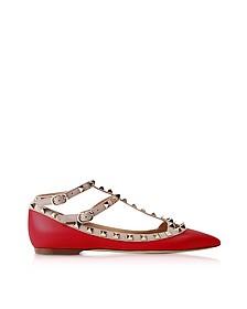 Rockstud Red Leather Flat Ballerinas - Valentino