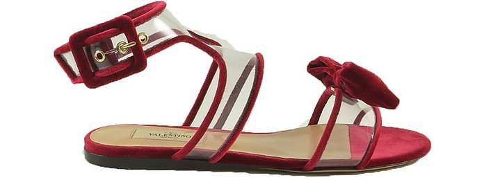 Red Pvc Dolly Bow Flat Sandals - Valentino / ヴァレンティノ