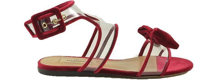 Red Pvc Dolly Bow Flat Sandals - Valentino Garavani