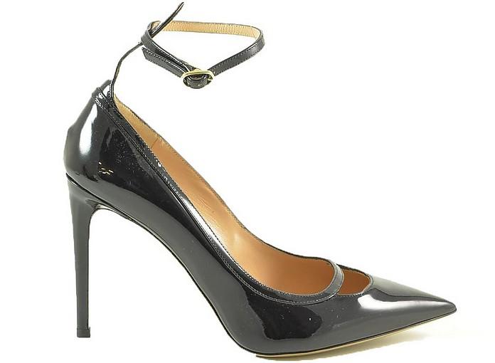Black Patent Leather High Heel Pumps w/Ankle Wrap - Valentino Garavani