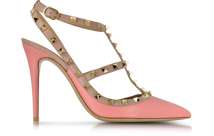 Rockstud Peau d'Ange and Powder Pink Ankle Strap Pump - Valentino