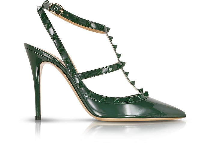Rockstud Dark Green Leather Slingback Pump - Valentino