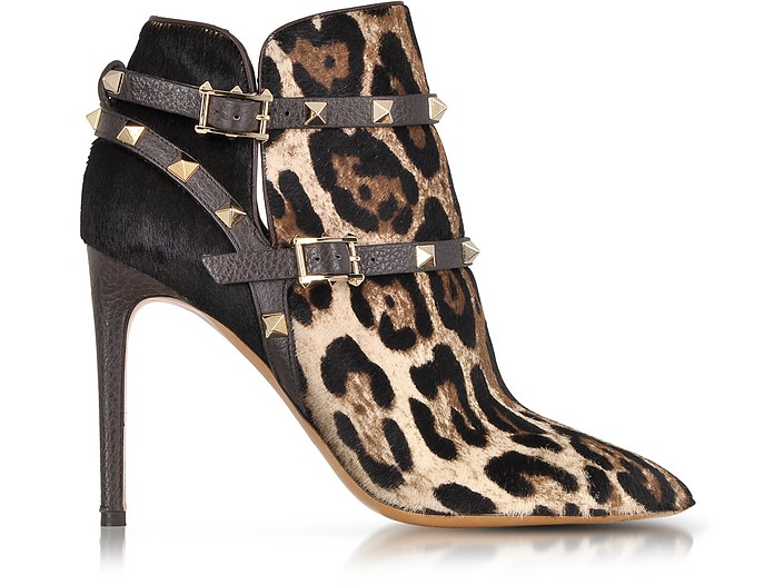 Rockstud Animal Print Haircalf Ankle Boot - Valentino