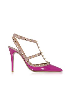 Rockstud Fuchsia & Powder Leather Ankle Strap Pump - Valentino