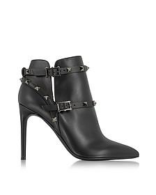 Rockstud Noir Leather Ankle Boot
