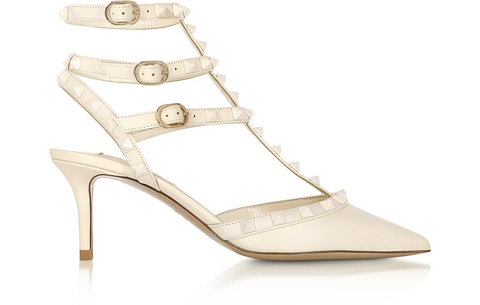 Rockstud Ivory Leather Ankle Strap Pumps - Valentino